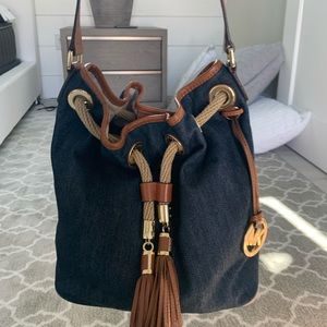Michael Kors denim and gold shoulder bag